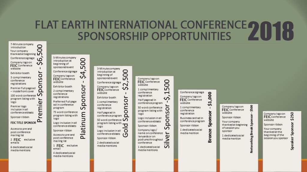 Flat Earth International Conference 2018 Sponsorship Opportunities